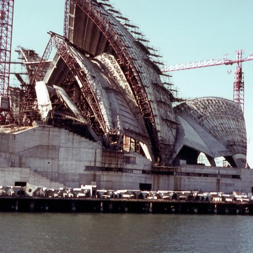 photograph showing the construction of the sydney opera house australia