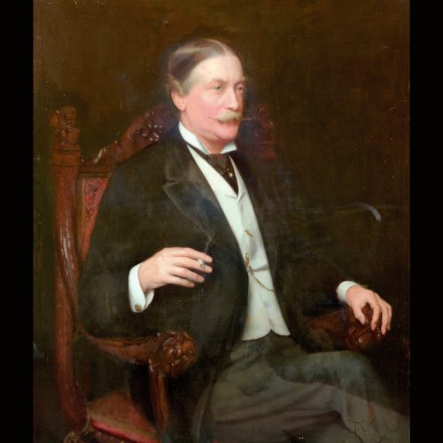 Copy from the Royal Liverpool Golf Club - painting of a man