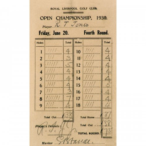 Copy from the Royal Liverpool Golf Club -  score card 1930