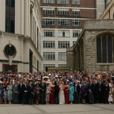 photograph of a large group at a wedding