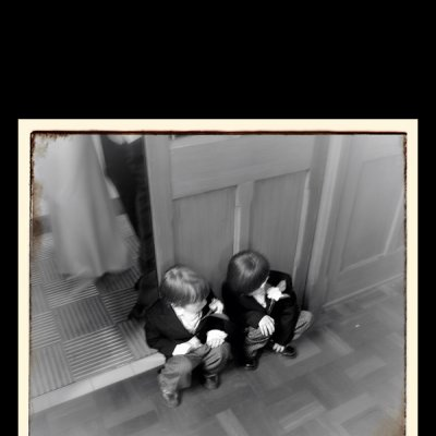 photograph of two boys in a church