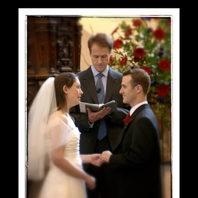 photograph of a couple making their vows in church
