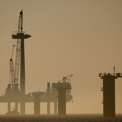 photograph of the building of a wind turbine of the coast at rhyl
