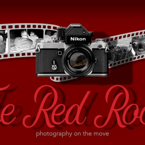 graphic composition of a roll of analogue 35 mm film and the words the red room