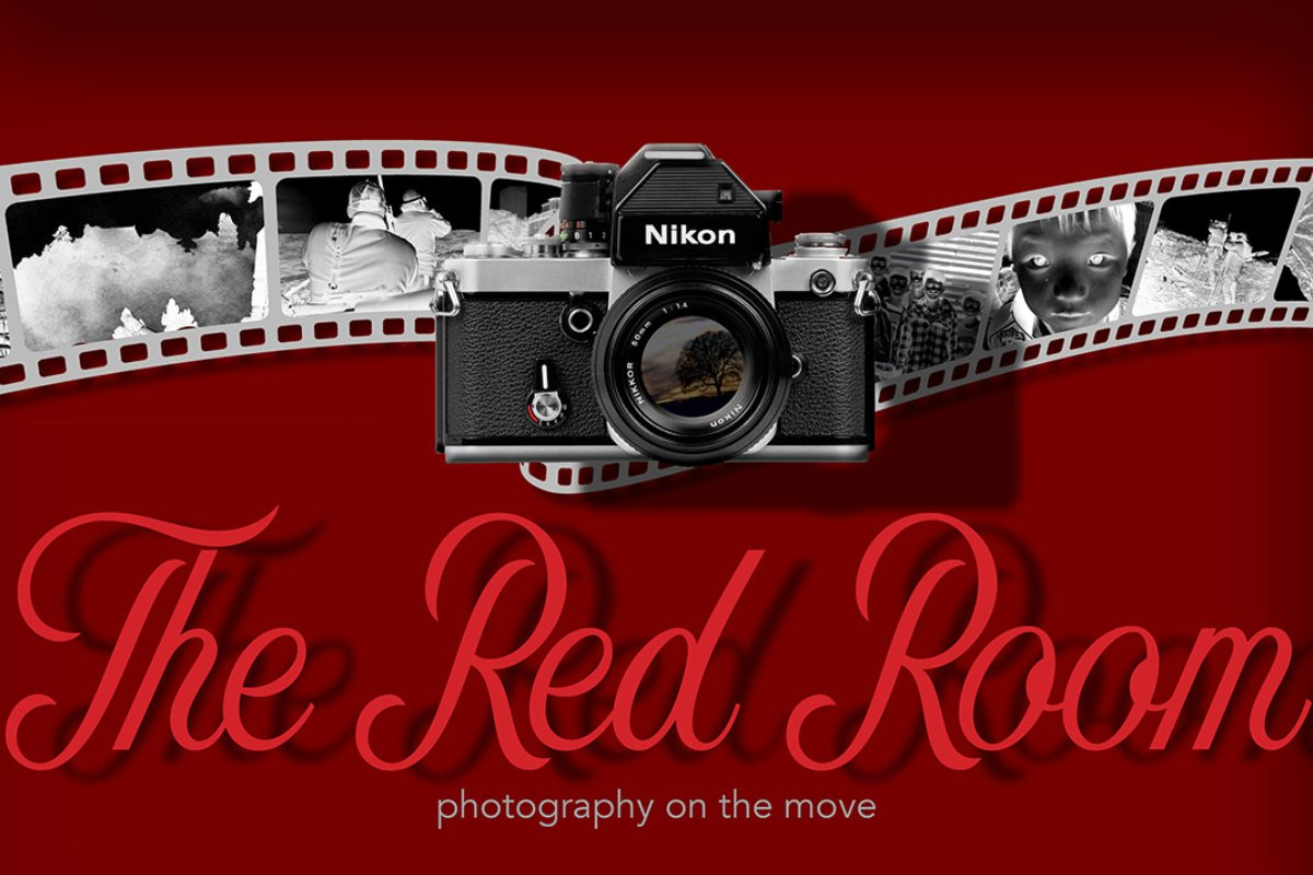 composite image of a camera on a red background with text