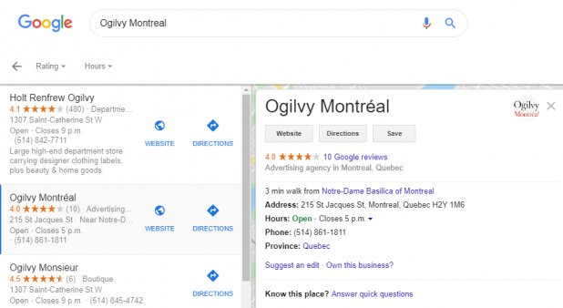 screen grab of a google search page showing local searches
