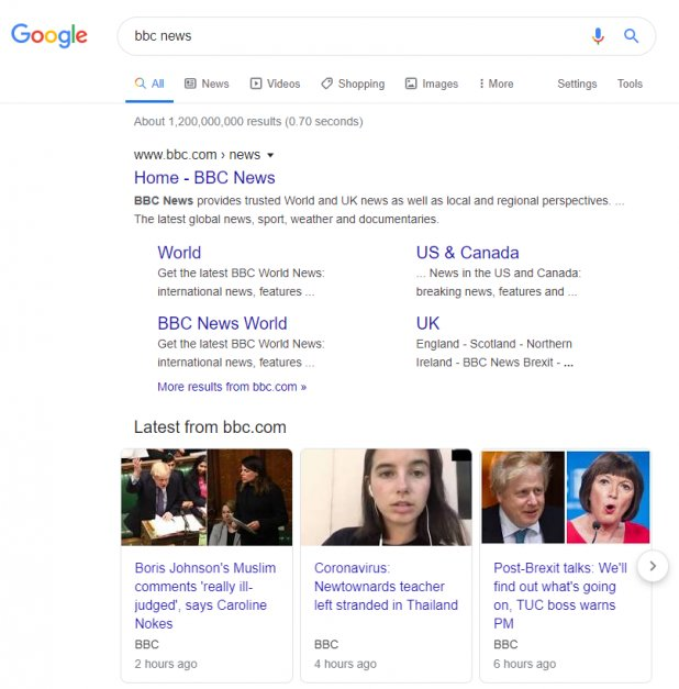 screen grab of a google search page