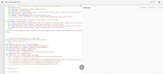 screen grab showing a websites code