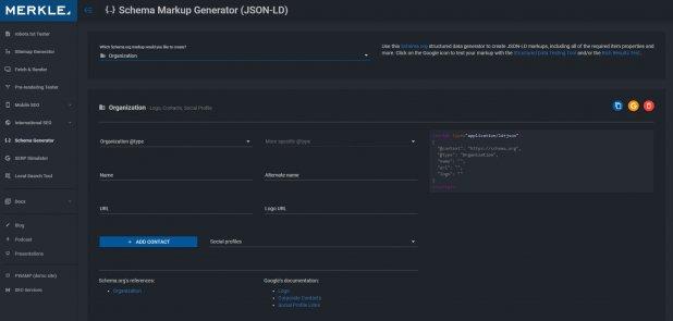 screen grab showing a schema markup generator